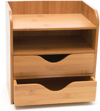 Desk Organizer Holder 4 Tier Office Storage Letter Wood Mail Tray Paper File New