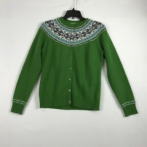 LL Bean Cardigan Sweater Womens S Fair Isle Snowflake Lambswool Green