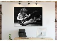 Angus Young - ACDC Live - Black And White - Canvas Wall Art Print