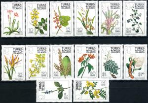 "Turks & Caicos 1990 ""Blumen"", MiNr 876/89 Zähnung A ** MNH"
