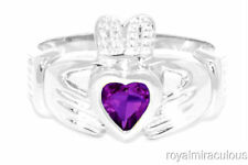 CLADDAGH RING 14K WHITE GOLD SIMULATED AMETHYST LOVE  LUCK - FEBRUARY BIRTHSTONE