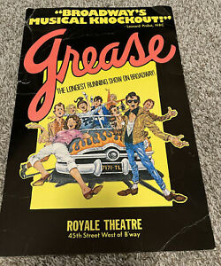 """Grease Royale Theater Broadway Window Card Poster 14"""" x 22"""" 1977 First Ed"""