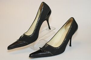 Prada Womens Size 38 Leather Textile Stiletto Snip Toe Italy Made Pump Shoes