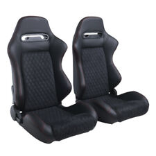 2pcs Reclinable Black&Red Racing Seats+2 Sliders SP Sport  Bucket Seats Leather