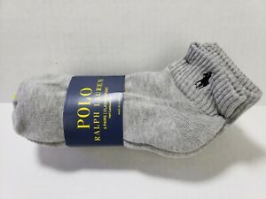 POLO RALPH LAUREN 6 Pairs Classic Sport Half Cushioned Sole Ankle Socks sz 10-13
