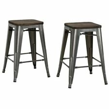 "Pemberly Row 24"" Counter Stool in Gun Metal (Set of 2)"