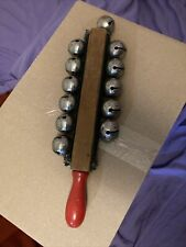 New listing Percussion Sleigh Bells Wood Handle Musical Instrument Christmas Jingle