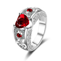 Women's Solid 925 Sterling Silver Red Zircon Heart Wedding Party Ring Size 6-10