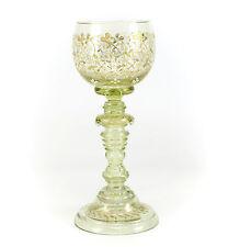 Bohemian Light Green Art Glass Goblet, c1900 Raised Gilt & White Enamel Floral