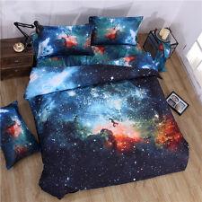 3d Universe Illusion Star Duvet Quilt Cover Pillowcase Bed Set Queen Double Blue Single