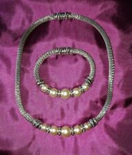 New Beautiful Pearl Silver Matching Necklace and Bracelet