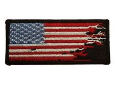 Distressed USA American Flag Embroidered Small Patch Motorcycle Biker