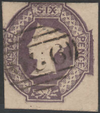 1854 SG59 6d DULL LILAC EMBOSSED CUT SQUARE LIGHT CANCELLATION