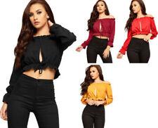 Polyester Off-Shoulder Sleeve Boho Tops & Blouses for Women