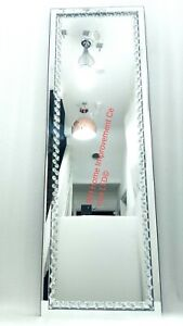 Sparkly Silver Wall Mirror Floating Crystal Full Length Tall Dressing 120x40cm