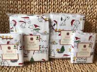 Pottery Barn Kids Peanuts Holiday Snoopy Full Queen Duvet Shams Full Sheet Set