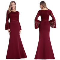 Ever-pretty Mermaid  Long Sleeve Lace Evening Gowns Formal Cocktail Party Dress