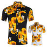 Mens Floral Print T-Shirts Short Sleeve Casual Tees Hawaiian Holiday Tops Summer