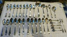 VINTAGE 1 POUND & 5 OUNCES STERLING SILVER: 27 SPOONS, 2 FORKS, 3 LADLES EXC CND