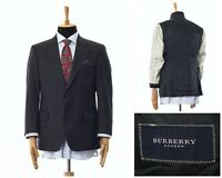Mens BURBERRY Blazer Coat Jacket Wool Two Button Charcoal Grey Size 40 50