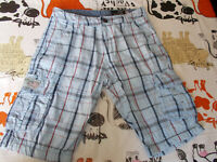 Short bermuda coton  bleu écossais SCHOTT W28 36FR Multi poches 19ET9