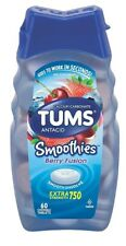 New Tums Smoothies Berry Fusion Extra Strength Antacid Chewable Tablets 60 Ct.