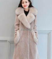 Women Shearling Wool Coat Mid Long Jacket Fur Collar New Fashion Casual