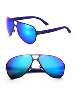 GUCCI Blue Mirror GG2252/S R63Z0 Semi Matte Aviator Sunglasses 62-13-135mm