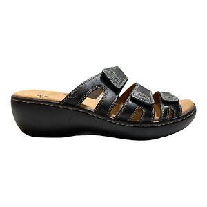 CLARKS Women's Black Clarks, Delana Damir Mid Heel Sandals Size 8W