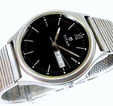 Titan Quartz India Day Date Black Dial Stainless Steel Men's Watch 35mm
