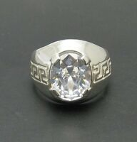 STERLING SILVER RING 925 CLASSIC MEN CZ SIZE N - Z++ NEW