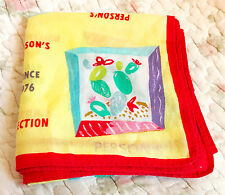 Person's Collection Handkerchief Yellow Red Colorful Fun Print frm Japan Vintage