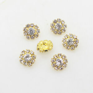 10 Gold Tone 12mm 'A' Grade  Crystal buttons sewing embellishments, Craft DIY