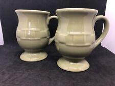 2 Longaberger Pottery Pedestal Cup Mug Sage Green Color Woven