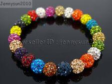 8mm Czech Crystal Rhinestones Pave Clay Round Disco Beads Stretchy Bracelet