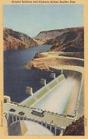 Linen Postcard A515 Arizona Spillway Highway Bridge Boulder Dam Desert Souvenir