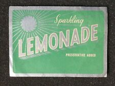 1950s Bottle Label Sparkling Lemonade Tocumwal Cordials Tocumwal NSW Australia