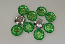 LOT 10 BOUTONS FANTAISIES STRASS VERT 18 mm - 2 TROUS - COUTURE SCRAPBOOKING
