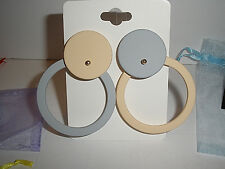 Fun Large Round Open and Closed Circles Beige Dusty Blue Stud Earrings Free Ship