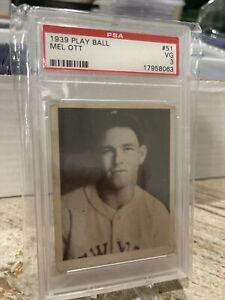 MEL OTT 1939 Play Ball Gum Baseball #51 PSA 3 VG NEW YORK GIANTS HOF Prewar