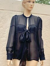 YVES SAINT LAURENT YSL RIVE GAUCHE BLACK SHEER SILK SHIRT WITH BOW SZ F 40