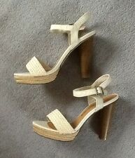 M&S Ladies Limited Collection Ivory Peep Toe Strappy Sandal/Shoes Size 6.5 BNWT