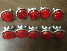 LOT OF ~ 10 ~ RED LICENSE PLATE BOLT REFLECTOR BIKE FASTENERS ROUND SAFETY NEW