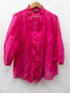 Susan Blake 3/4 Sleeve Top Blouse Size 16 pink linen feel
