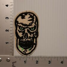 1990's WHITE SKULL / GREEN EYES BIKER VINTAGE EMBROIDERED PATCH