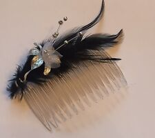 HAIR SLIDE COMB Feather Fascinator Black With Silver Flower And Pearls