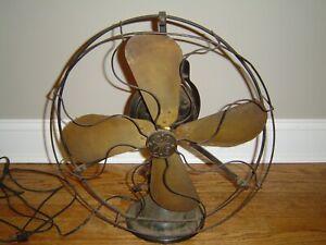 "Antique General Electric Fan Vintage 8"" Brass Blade Works- Unrestored USA"