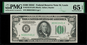 1934C $100 Federal Reserve Note - St. Louis - FR. 2155-H - Graded PMG 65 EPQ