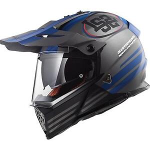 Motorcycle Helmet Cross LS2 MX436 Pioneer Quarterback Mat Titanium Blue