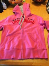 Lucky Brand Dungarees America Pink Hooded Sweatshirt Size L m7